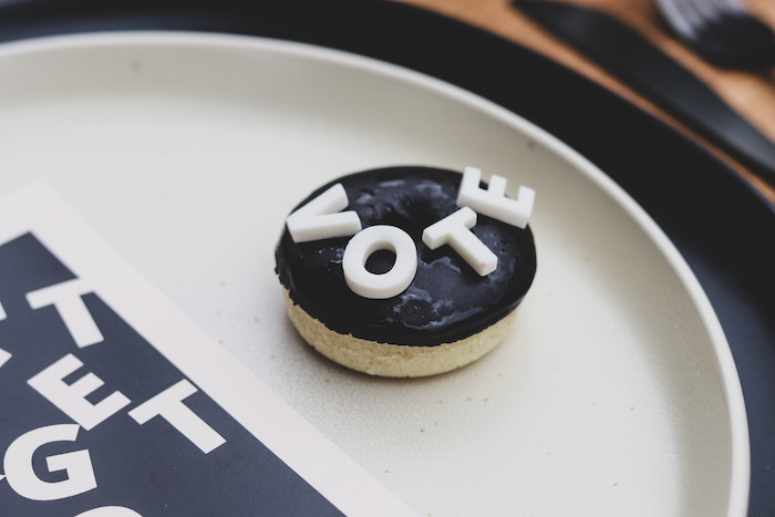"""Mini 'VOTE' Donut from a """"Don't Forget to Vote"""" Party on Kara's Party Ideas 