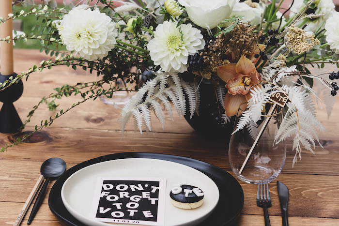 """Black + White Table Setting from a """"Don't Forget to Vote"""" Party on Kara's Party Ideas 