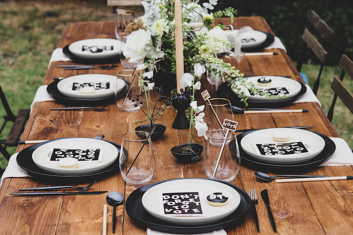 """Black & White Set Luncheon Table from a """"Don't Forget to Vote"""" Party on Kara's Party Ideas 