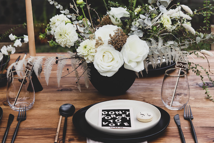 """Black & White Table Setting from a """"Don't Forget to Vote"""" Party on Kara's Party Ideas 