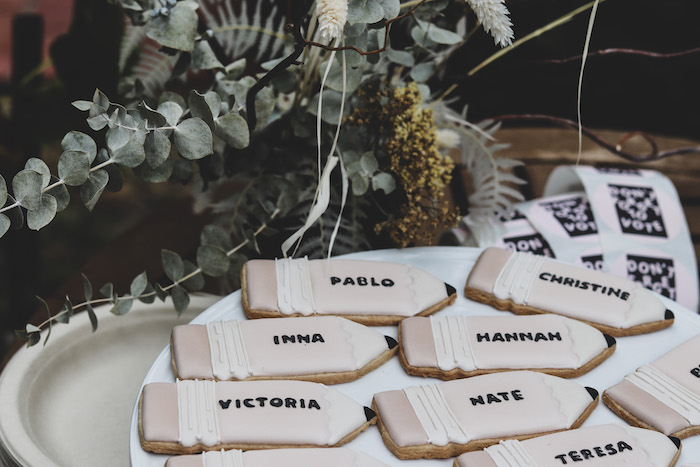 """Personalized Pencil Cookies from a """"Don't Forget to Vote"""" Party on Kara's Party Ideas 