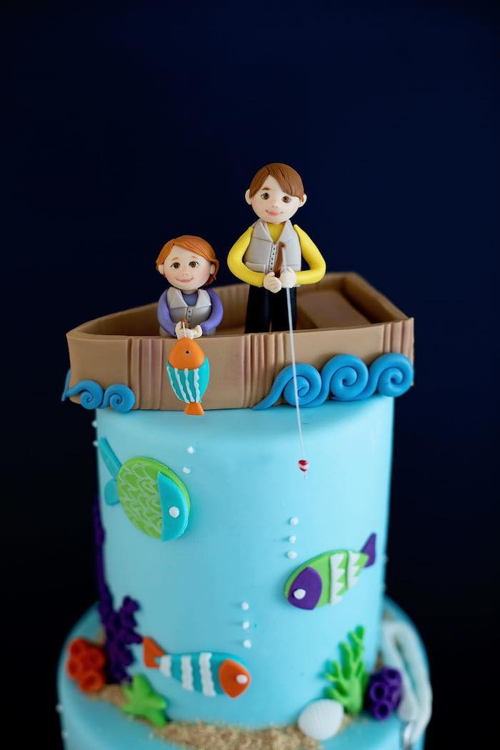 """Custom Fishing Themed Cake Topper from a """"Gone Fishing"""" Birthday Party on Kara's Party Ideas   KarasPartyIdeas.com (18)"""