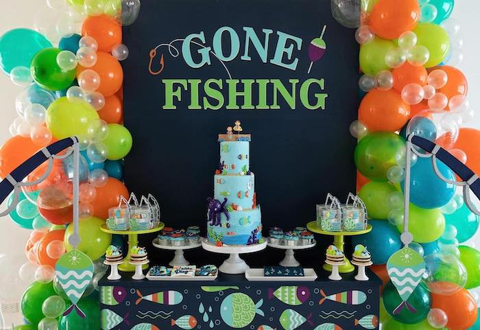 """Fishing Themed Dessert Table from a """"Gone Fishing"""" Birthday Party on Kara's Party Ideas   KarasPartyIdeas.com (17)"""