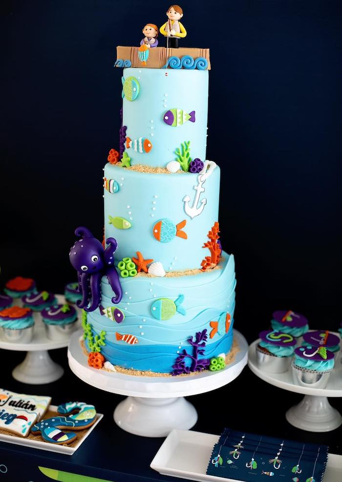 """Fishing Themed Birthday Cake from a """"Gone Fishing"""" Birthday Party on Kara's Party Ideas   KarasPartyIdeas.com (16)"""