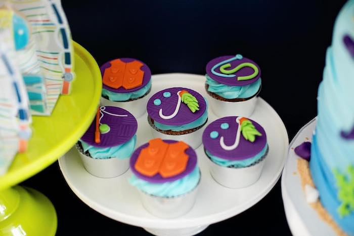 """Fishing-inspired Cupcakes from a """"Gone Fishing"""" Birthday Party on Kara's Party Ideas   KarasPartyIdeas.com (14)"""