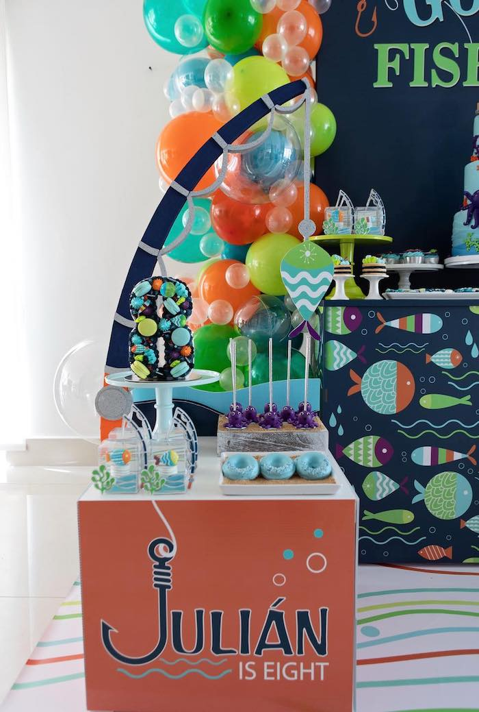 """Fishing-inspired Sweet Table from a """"Gone Fishing"""" Birthday Party on Kara's Party Ideas   KarasPartyIdeas.com (12)"""