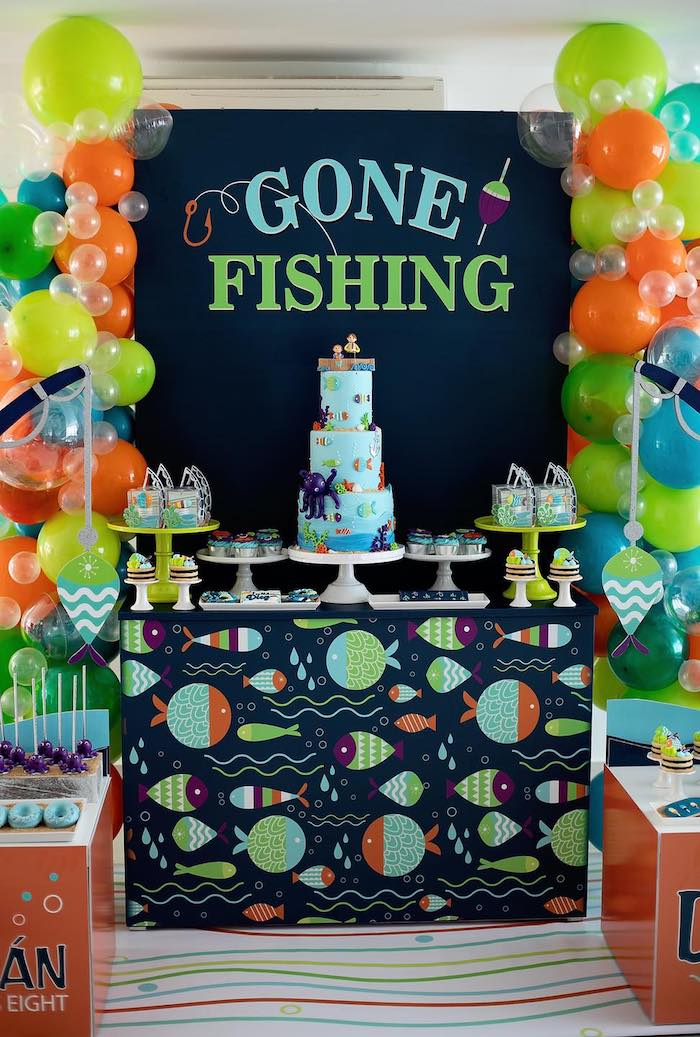 """""""Gone Fishing"""" Dessert Table from a """"Gone Fishing"""" Birthday Party on Kara's Party Ideas   KarasPartyIdeas.com (10)"""