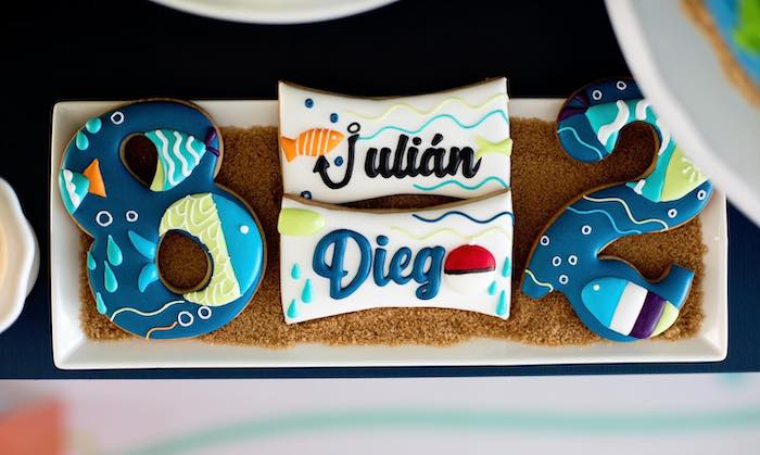 """Personalized Fishing Themed Cookies from a """"Gone Fishing"""" Birthday Party on Kara's Party Ideas   KarasPartyIdeas.com (9)"""