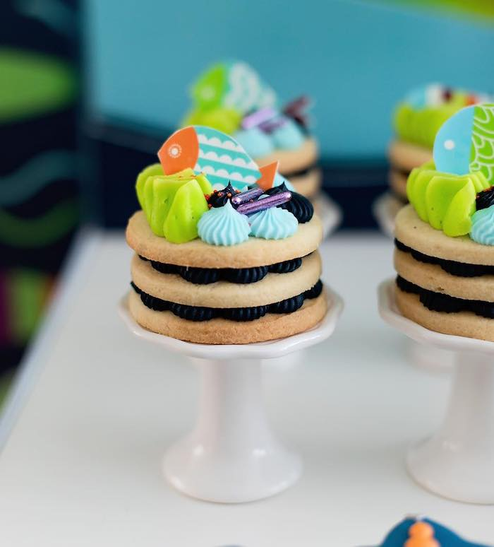 """Stacked Fishing Themed Cookies from a """"Gone Fishing"""" Birthday Party on Kara's Party Ideas   KarasPartyIdeas.com (7)"""