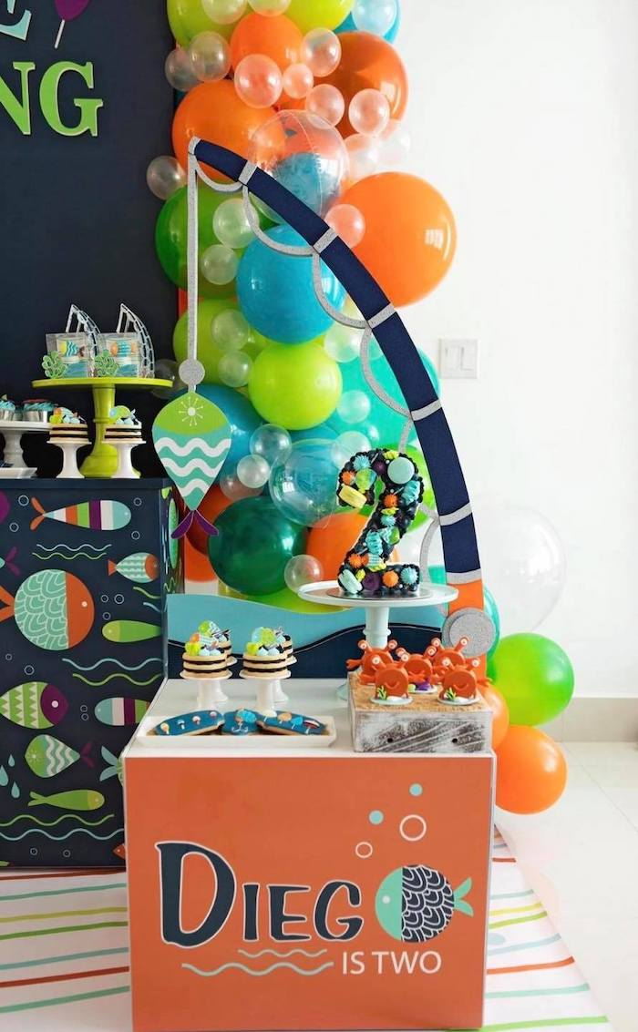 """Fishing Themed Sweet Table from a """"Gone Fishing"""" Birthday Party on Kara's Party Ideas   KarasPartyIdeas.com (26)"""