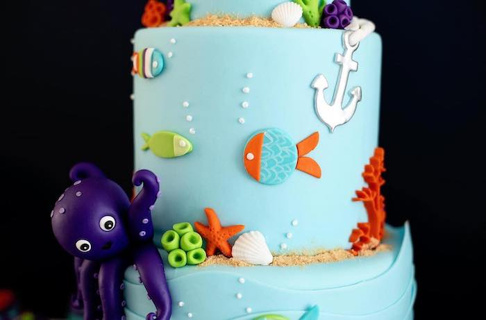 """Fishing Themed Birthday Cake from a """"Gone Fishing"""" Birthday Party on Kara's Party Ideas 