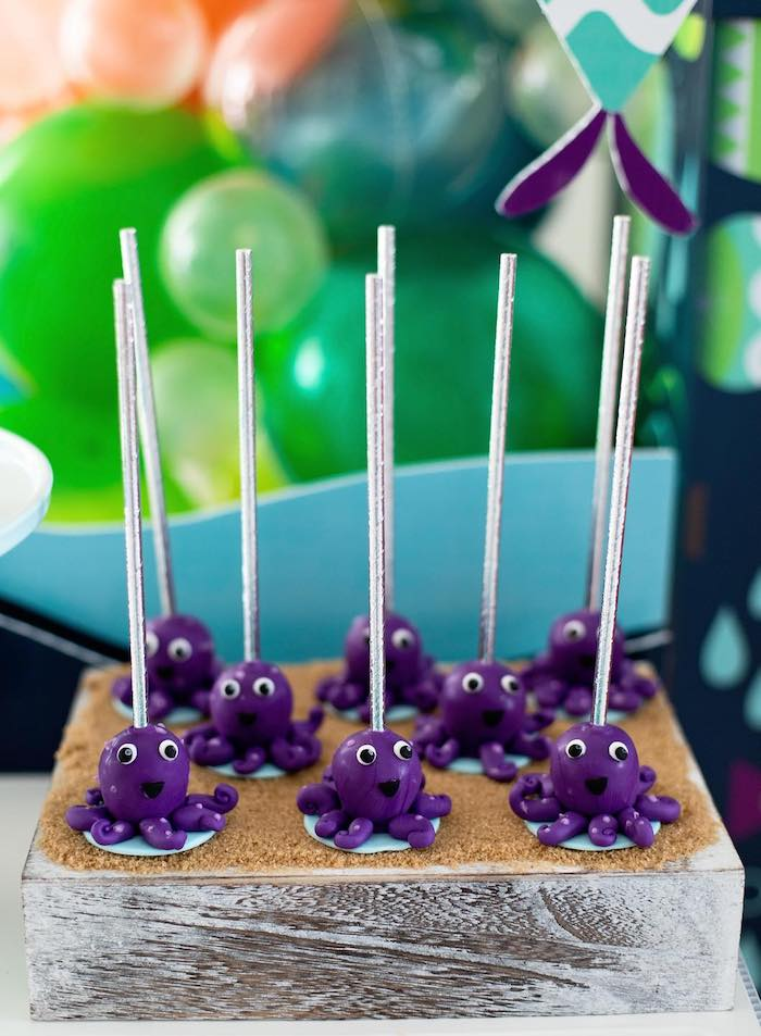 """Octopus Cake Pops from a """"Gone Fishing"""" Birthday Party on Kara's Party Ideas   KarasPartyIdeas.com (22)"""