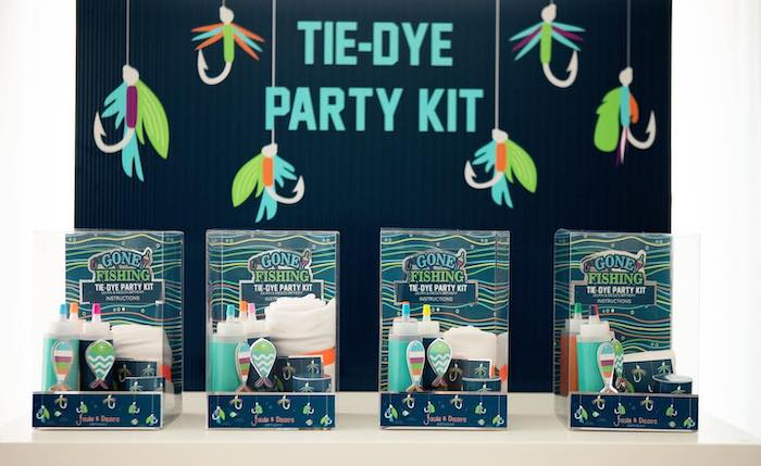 """Tie-Dye Party Kits from a """"Gone Fishing"""" Birthday Party on Kara's Party Ideas   KarasPartyIdeas.com (21)"""