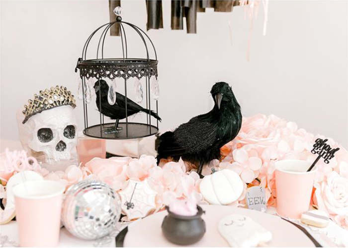 """Crows + Skulls + Pink Blooms from a """"My Lil' BOO Thing"""" Halloween Party on Kara's Party Ideas 