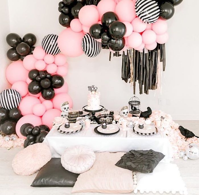 """Pink + Black Halloween Guest Table from a """"My Lil' BOO Thing"""" Halloween Party on Kara's Party Ideas 