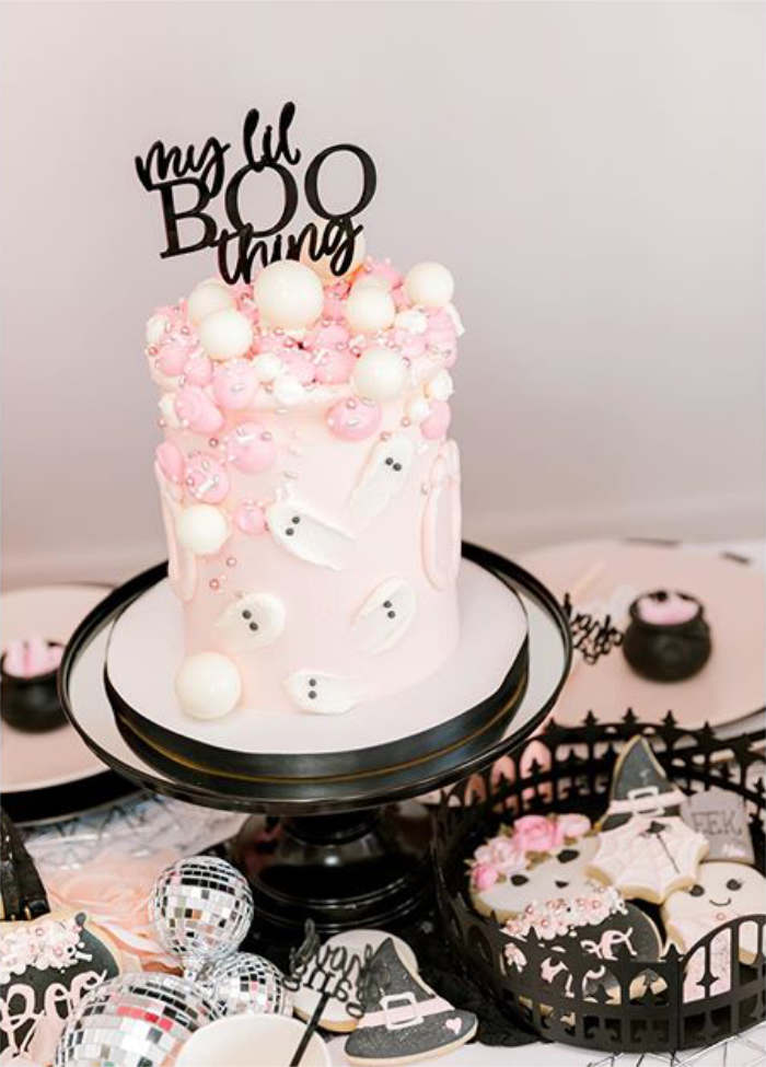 """Ghost Cake from a """"My Lil' BOO Thing"""" Halloween Party on Kara's Party Ideas 