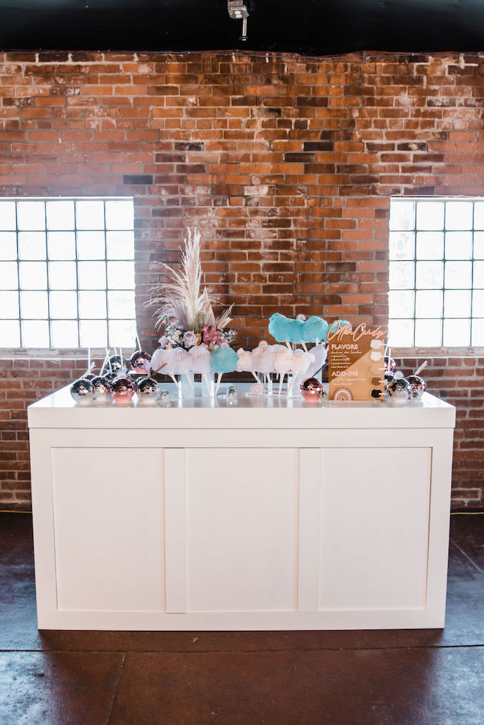 "Cotton Candy Table from a ""We are Stronger Together"" Party on Kara's Party Ideas 