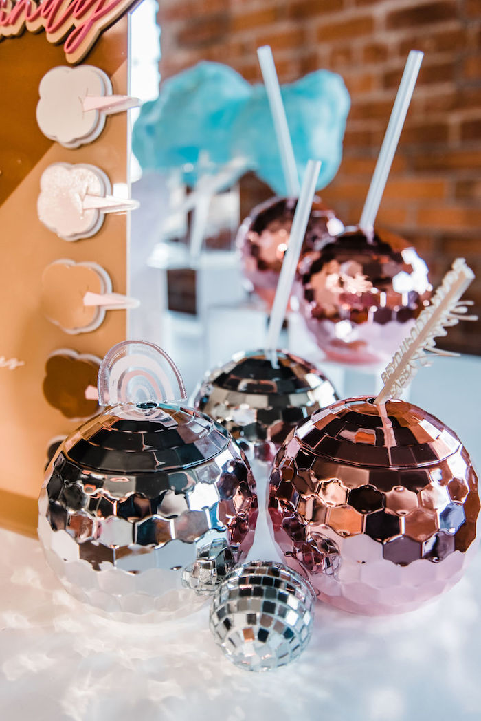 "Disco Ball Cups from a ""We are Stronger Together"" Party on Kara's Party Ideas 
