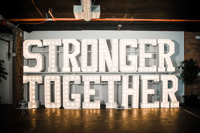 "Stronger Together Marquee Light Sign from a ""We are Stronger Together"" Party on Kara's Party Ideas 