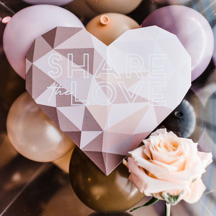 "Share the Love - Heart Party Invite from a ""We are Stronger Together"" Party on Kara's Party Ideas 