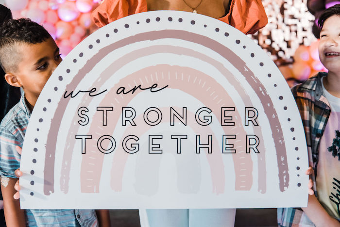 "We are Stronger Together Rainbow Banner from a ""We are Stronger Together"" Party on Kara's Party Ideas 