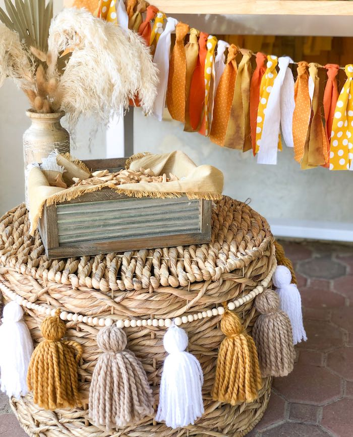 Boho Basket from a Boho Lion King Birthday Party on Kara's Party Ideas | KarasPartyIdeas.com (11)