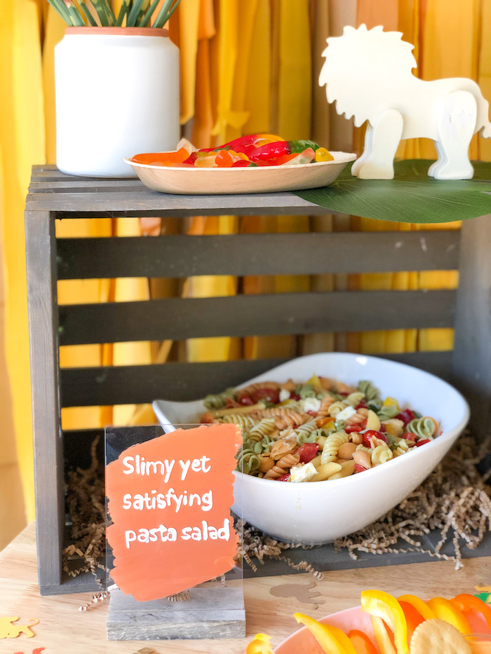 Slimy Yet Satisfying Pasta Salad from a Boho Lion King Birthday Party on Kara's Party Ideas | KarasPartyIdeas.com (10)