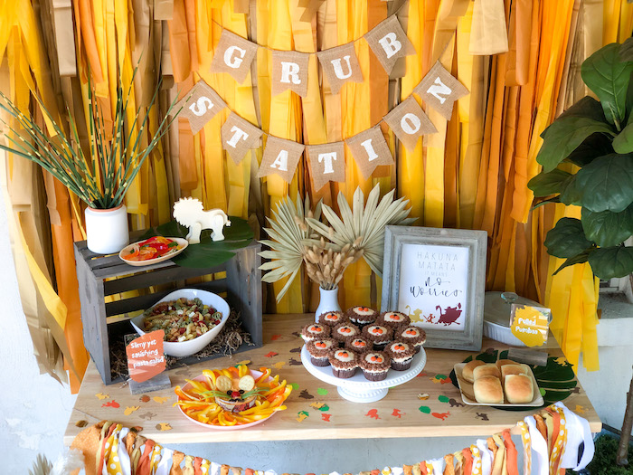 Grub Station from a Boho Lion King Birthday Party on Kara's Party Ideas | KarasPartyIdeas.com (6)