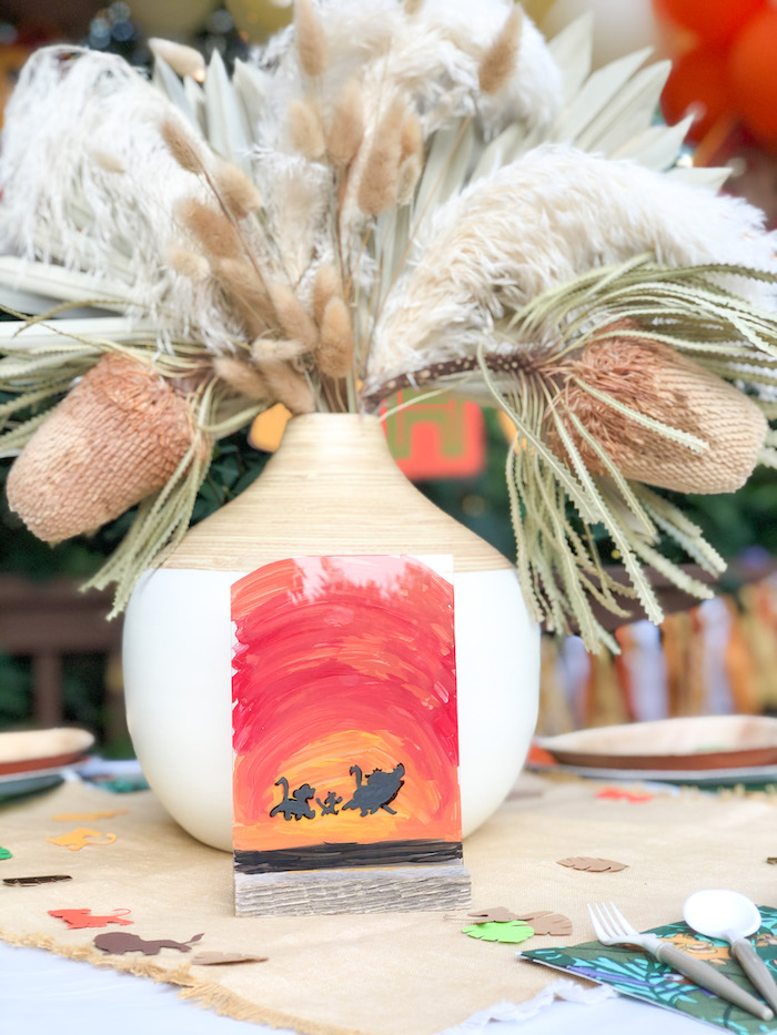 Boho Lion King Table Centerpiece from a Boho Lion King Birthday Party on Kara's Party Ideas | KarasPartyIdeas.com (21)