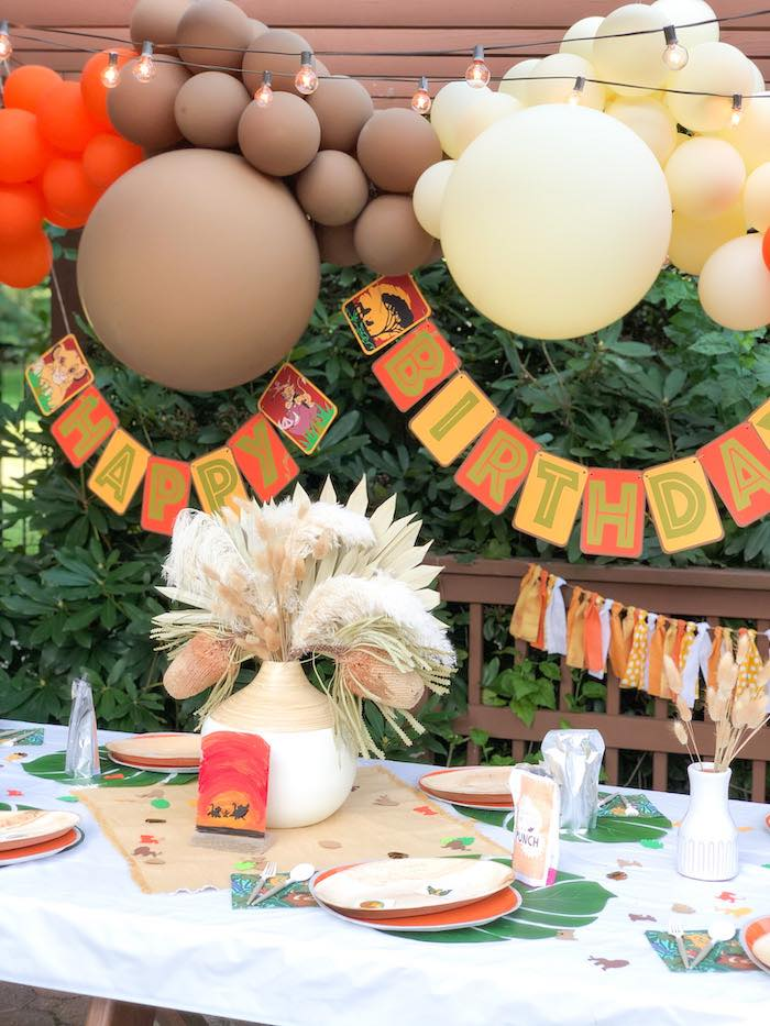 Lion King-inspired Kid Table from a Boho Lion King Birthday Party on Kara's Party Ideas | KarasPartyIdeas.com (17)