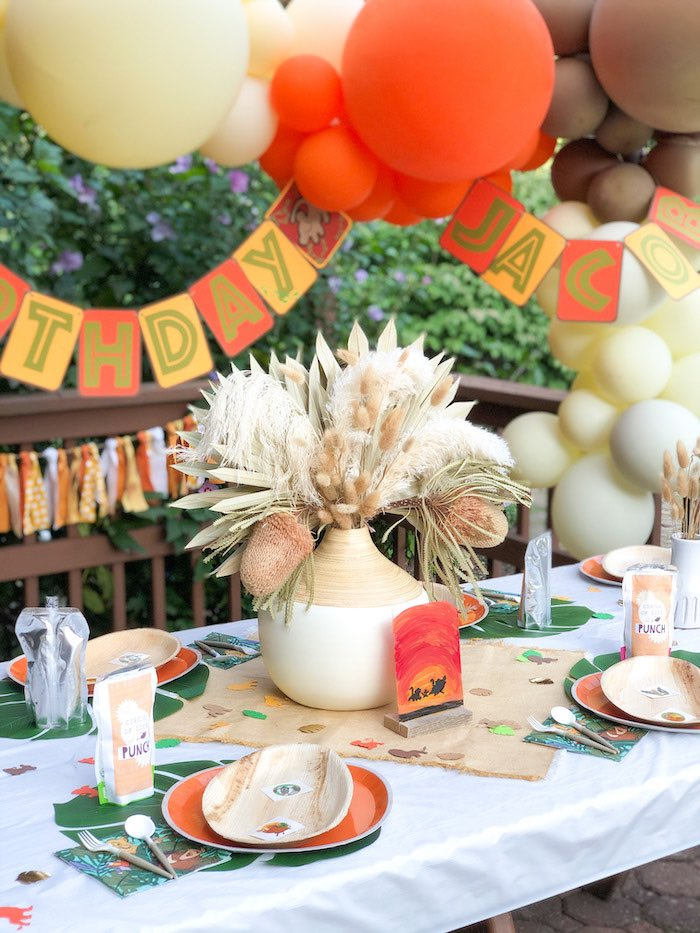 Lion King-inspired Kid Table from a Boho Lion King Birthday Party on Kara's Party Ideas | KarasPartyIdeas.com (15)