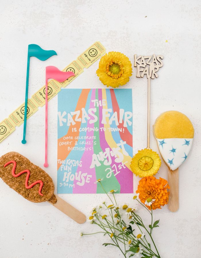 Carnival-inspired Party Invite from a Carnival + Street Fair Drive-by Party on Kara's Party Ideas | KarasPartyIdeas.com (24)
