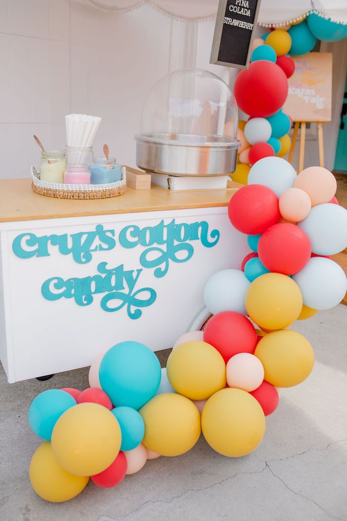 Cotton Candy Cart from a Carnival + Street Fair Drive-by Party on Kara's Party Ideas | KarasPartyIdeas.com (21)