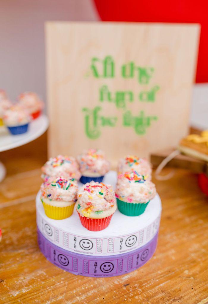 Carnival Cupcakes from a Carnival + Street Fair Drive-by Party on Kara's Party Ideas | KarasPartyIdeas.com (38)
