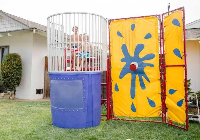Dunking Booth from a Carnival + Street Fair Drive-by Party on Kara's Party Ideas | KarasPartyIdeas.com (14)