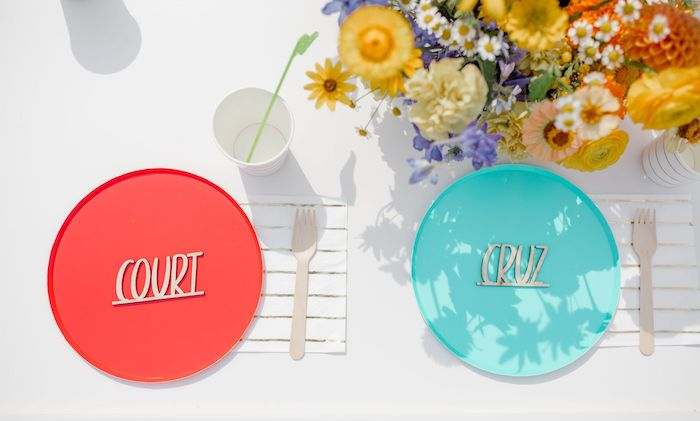 Personalized Table Settings from a Carnival + Street Fair Drive-by Party on Kara's Party Ideas | KarasPartyIdeas.com (13)