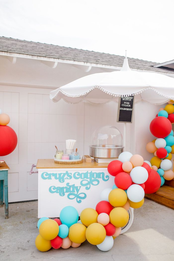Cotton Candy Cart from a Carnival + Street Fair Drive-by Party on Kara's Party Ideas | KarasPartyIdeas.com (11)