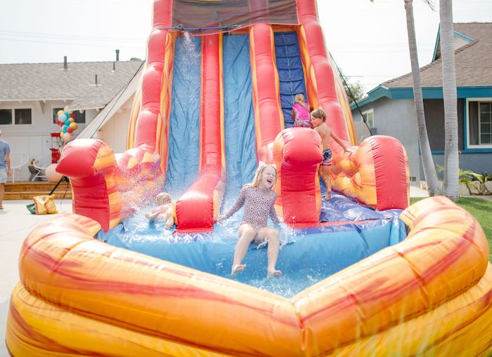 Inflatable Water Slide from a Carnival + Street Fair Drive-by Party on Kara's Party Ideas | KarasPartyIdeas.com (10)