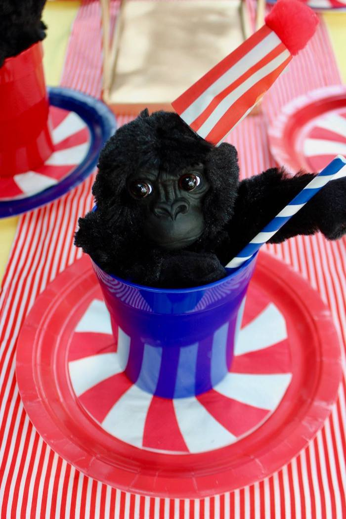 Circus Plate & Gorilla Cup Table Setting from a Circus Birthday Party on Kara's Party Ideas | KarasPartyIdeas.com (18)
