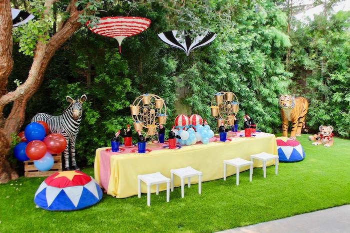 Circus Themed Guest Table from a Circus Birthday Party on Kara's Party Ideas | KarasPartyIdeas.com (15)