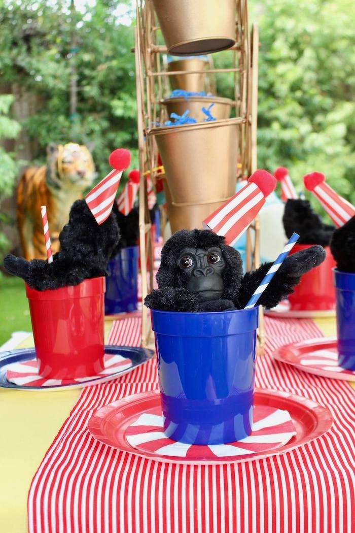 Gorilla Cup & Circus Stripe Table Setting from a Circus Birthday Party on Kara's Party Ideas | KarasPartyIdeas.com (14)