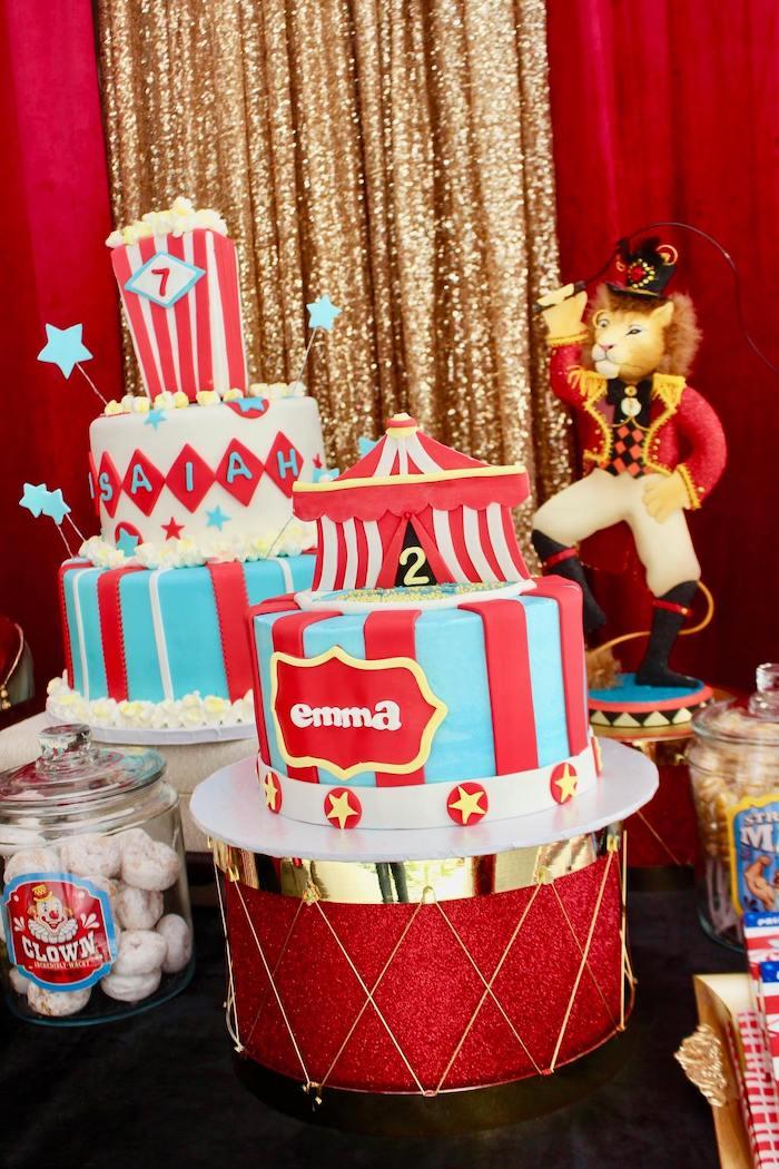 Circus Themed Birthday Cake from a Circus Birthday Party on Kara's Party Ideas | KarasPartyIdeas.com (13)