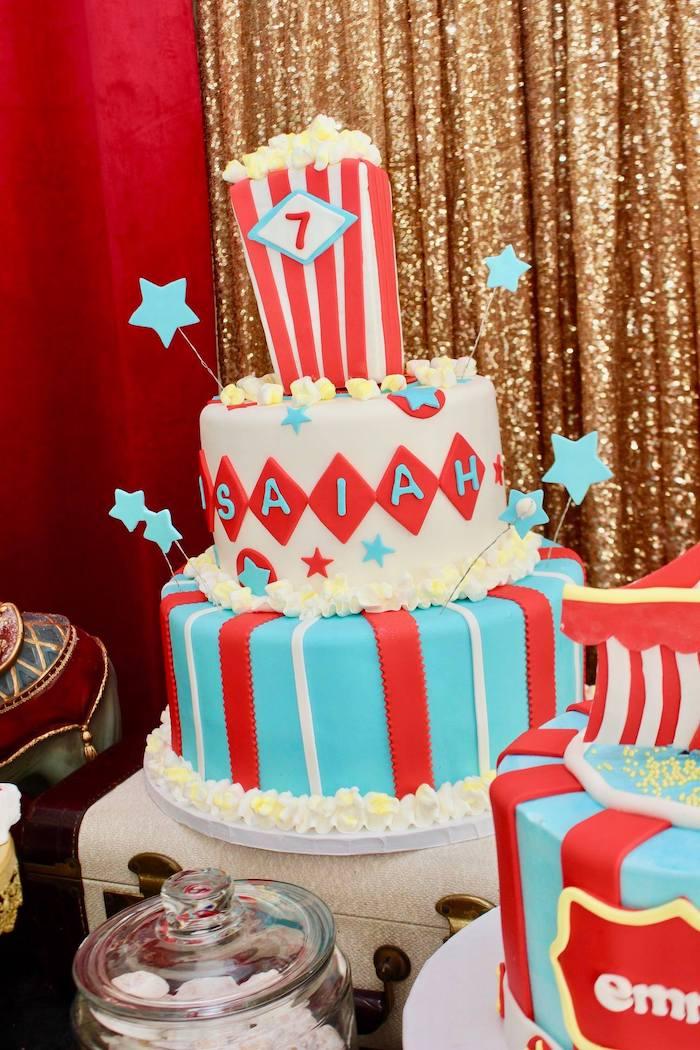 Circus Themed Birthday Cake from a Circus Birthday Party on Kara's Party Ideas | KarasPartyIdeas.com (5)