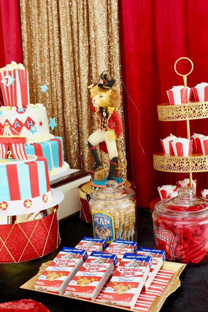 Circus Themed Dessert Table from a Circus Birthday Party on Kara's Party Ideas | KarasPartyIdeas.com (26)