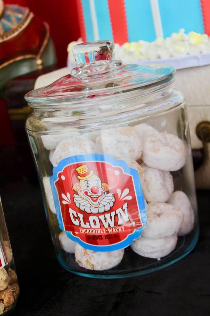 Clown Donut Jar from a Circus Birthday Party on Kara's Party Ideas | KarasPartyIdeas.com (22)