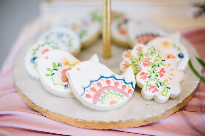 Floral Bird Fiesta Cookies from a Floral Boho 40th Birthday Fiesta on Kara's Party Ideas | KarasPartyIdeas.com (18)