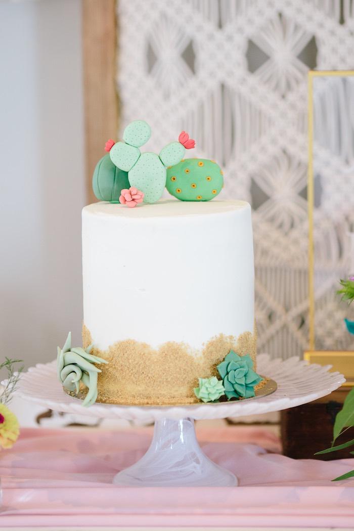 Cactus Cake from a Floral Boho 40th Birthday Fiesta on Kara's Party Ideas | KarasPartyIdeas.com (16)