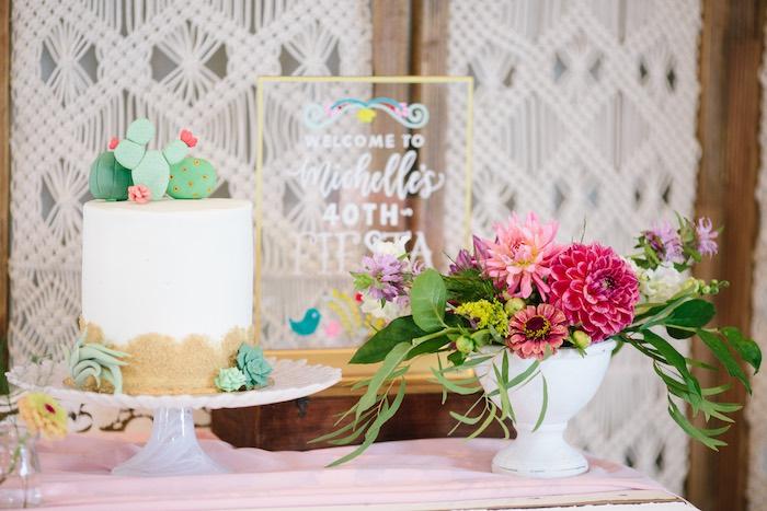 Cake Table from a Floral Boho 40th Birthday Fiesta on Kara's Party Ideas | KarasPartyIdeas.com (15)