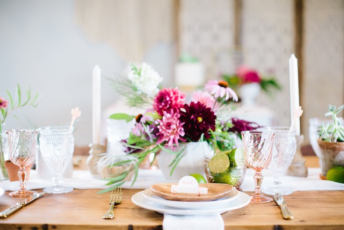 Wood Plate Table Setting from a Floral Boho 40th Birthday Fiesta on Kara's Party Ideas | KarasPartyIdeas.com (14)