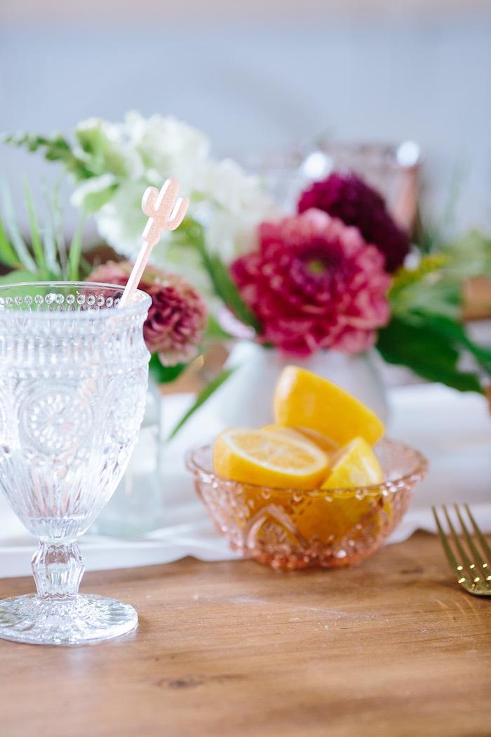 Glass Goblet with Cactus Stir Stick from a Floral Boho 40th Birthday Fiesta on Kara's Party Ideas | KarasPartyIdeas.com (12)